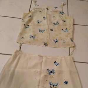 Tommy Bahama Yellow Butterfly Top Skirt Set 4/6